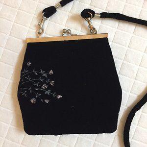 Vintage 90s velvet evening shoulder bag